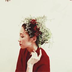 ミディアム ヘアアレンジ 夏 ブライダル ヘアスタイルや髪型の写真・画像