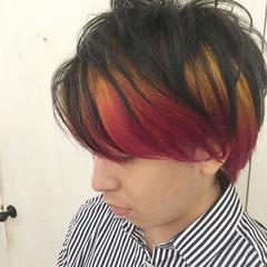 グラデーションカラー オレンジ ショート メンズ ヘアスタイルや髪型の写真・画像
