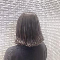 暗髪 ボブ グレージュ ゆるふわ ヘアスタイルや髪型の写真・画像