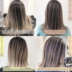 ミルクティーベージュ バレイヤージュ ミディアム エレガント ヘアスタイルや髪型の写真・画像