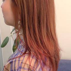 ガーリー オレンジベージュ オレンジ アプリコットオレンジ ヘアスタイルや髪型の写真・画像