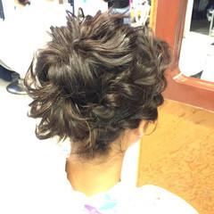 和装 セミロング ナチュラル 編み込み ヘアスタイルや髪型の写真・画像