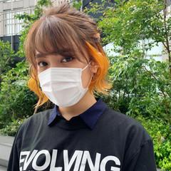 オレンジカラー ミニボブ ストリート ボブ ヘアスタイルや髪型の写真・画像