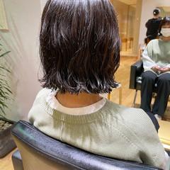 ナチュラル 前髪パーマ ミニボブ 切りっぱなしボブ ヘアスタイルや髪型の写真・画像