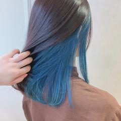 ブルー ヘアアレンジ ミディアム インナーカラー ヘアスタイルや髪型の写真・画像