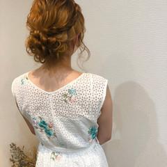 編み込みヘア ヘアアレンジ セミロング 編み込み ヘアスタイルや髪型の写真・画像