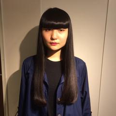 モード 黒髪 ロング 重めバング ヘアスタイルや髪型の写真・画像