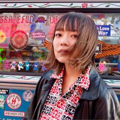 外ハネ ガーリー ボブ ヘアアレンジ ヘアスタイルや髪型の写真・画像