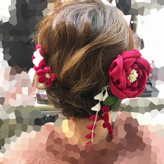 フェミニン 成人式 着物 アップスタイル ヘアスタイルや髪型の写真・画像