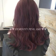 ガーリー ピンク グレージュ セミロング ヘアスタイルや髪型の写真・画像