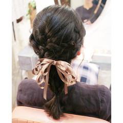 学校 編み込み ショート ヘアアレンジ ヘアスタイルや髪型の写真・画像