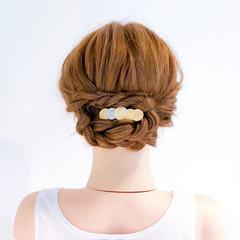 ロング フェミニン ロープ編み 結婚式 ヘアスタイルや髪型の写真・画像