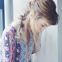 ロング ヘアアレンジ 前髪あり フェミニン ヘアスタイルや髪型の写真・画像