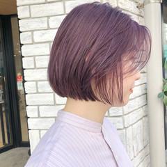 ミニボブ ショートボブ フェミニン ラベンダーピンク ヘアスタイルや髪型の写真・画像