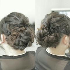 フェミニン 編み込み ゆるふわ ヘアアレンジ ヘアスタイルや髪型の写真・画像
