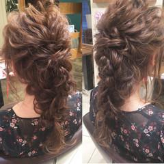大人女子 ロング 結婚式 編み込み ヘアスタイルや髪型の写真・画像