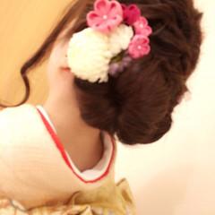 結婚式 ヘアアレンジ 編み込み 着物 ヘアスタイルや髪型の写真・画像