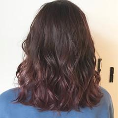 ガーリー ミディアム ピンクバイオレット 外国人風カラー ヘアスタイルや髪型の写真・画像