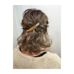 ヘアアレンジ 切りっぱなし ボブ ハーフアップ ヘアスタイルや髪型の写真・画像