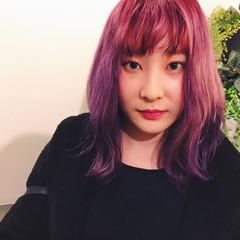 ラベンダーピンク ミディアム モード ピンク ヘアスタイルや髪型の写真・画像