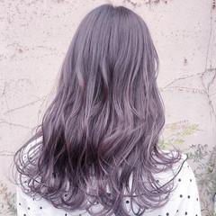 ラベンダーアッシュ ラベンダーピンク ラベンダーグレージュ セミロング ヘアスタイルや髪型の写真・画像