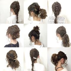 編み込み セミロング 大人かわいい パーティ ヘアスタイルや髪型の写真・画像