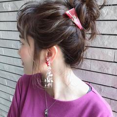 簡単ヘアアレンジ デート ナチュラル セミロング ヘアスタイルや髪型の写真・画像