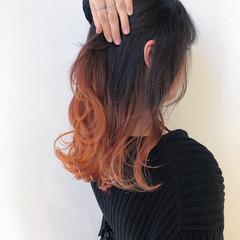 ロング オレンジ ナチュラル オレンジブラウン ヘアスタイルや髪型の写真・画像