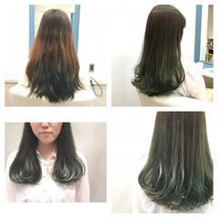 ブリーチなし グリーン ロング カーキ ヘアスタイルや髪型の写真・画像
