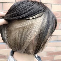 シルバー ボブ グレージュ ストリート ヘアスタイルや髪型の写真・画像