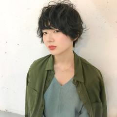 ショート 女子会 黒髪 デート ヘアスタイルや髪型の写真・画像