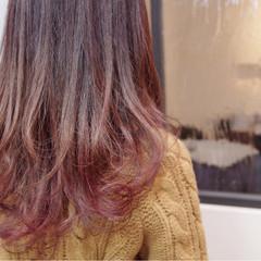 フェミニン 冬 ガーリー ピンク ヘアスタイルや髪型の写真・画像