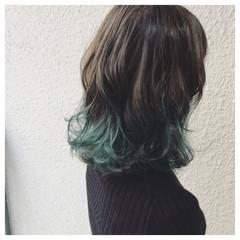 インナーカラー ストリート デート ミディアム ヘアスタイルや髪型の写真・画像