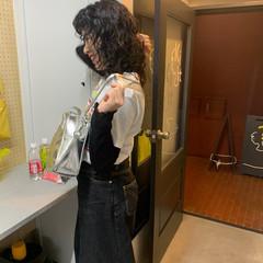 モード ウルフパーマヘア 夏 黒髪 ヘアスタイルや髪型の写真・画像