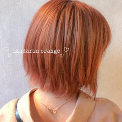 ガーリー ブラットオレンジ オレンジベージュ オレンジカラー ヘアスタイルや髪型の写真・画像