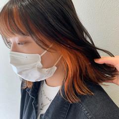 ミディアム ストリート インナーカラー オレンジカラー ヘアスタイルや髪型の写真・画像