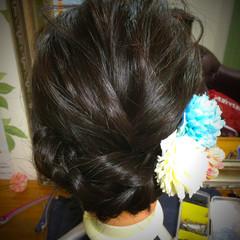 ヘアアレンジ ナチュラル 成人式 黒髪 ヘアスタイルや髪型の写真・画像