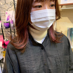 インナーカラー 韓国ヘア 韓国風ヘアー ミディアム ヘアスタイルや髪型の写真・画像