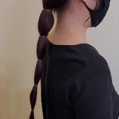 チェリーレッド オン眉 ロング 簡単ヘアアレンジ ヘアスタイルや髪型の写真・画像