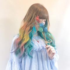 フェミニン 個性的 マーメイドアッシュ インナーカラー ヘアスタイルや髪型の写真・画像