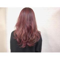 カラートリートメント ピンク ゆるふわ ハイライト ヘアスタイルや髪型の写真・画像