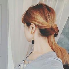 ポニーテール ロング ハイライト ヘアアレンジ ヘアスタイルや髪型の写真・画像