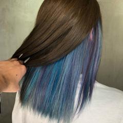 ユニコーンカラー バレイヤージュ グラデーションカラー ユニコーン ヘアスタイルや髪型の写真・画像