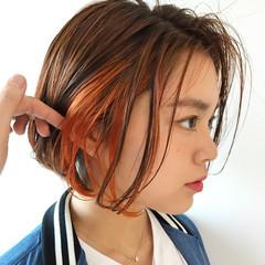オレンジブラウン オレンジベージュ ミニボブ ナチュラル ヘアスタイルや髪型の写真・画像