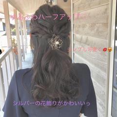 黒髪 デート フェミニン ロング ヘアスタイルや髪型の写真・画像