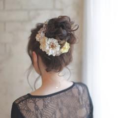 結婚式 暗髪 ロング 花 ヘアスタイルや髪型の写真・画像