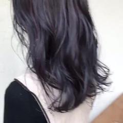 ピンクパープル パープル パープルカラー ナチュラル ヘアスタイルや髪型の写真・画像