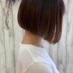 ミニボブ ナチュラル 艶髪 切りっぱなしボブ ヘアスタイルや髪型の写真・画像