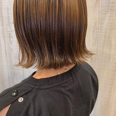 ミルクティーベージュ ボブヘアー ボブ ガーリー ヘアスタイルや髪型の写真・画像