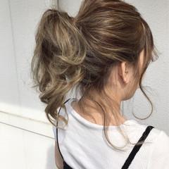 ヘアアレンジ 色気 ポニーテール ミディアム ヘアスタイルや髪型の写真・画像